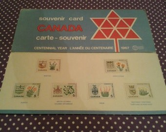 1967 Canadian stamp souvenir card.