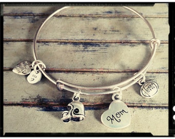 Sports Mom - Adjustable Charm Bangle in Vintage Silver -Your Choice - Football/Baseball/Dance/Softball Charm - Birthstone & Initial Option