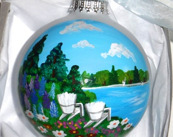Adirondack Chair Ornament, coastal art, hand painted ornament, Maine art, coastal Christmas ball, the glass ornament is 3 1/4 round with bow