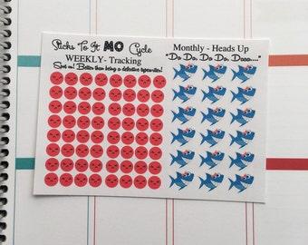 Monthly Cycle Tracker Shark Planner Stickers ECLP Mambi Inkwell Press Filofax Kikki K Happy Life Planner