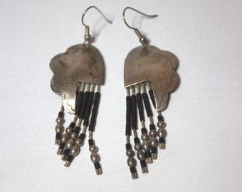 Silver Plated Native American - Mexican Dangle Wire Hook Earrings