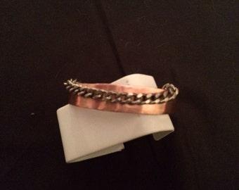 Copper and chain cuff