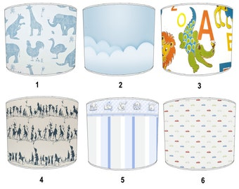 Boys Nursery Bedroom Childrens Lamp shades, To Fit Either a Table Lamp base or a Ceiling Light Fitting.