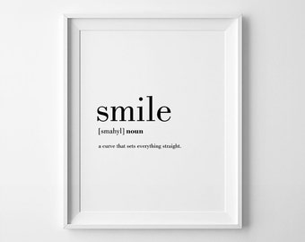 Minimalist Prints, Smile, Definition Posters, Smile Nursery Art, Smile Print, Smile Definition, Affiche Scandinave