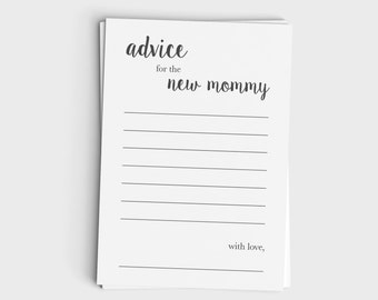 Baby Shower Advice Card for New Mommy - Minimalist Modern Gray Design - Instant Download - Baby Shower Game - Printable