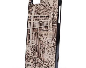 iPhone 5 wood case plants