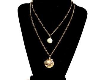 Seashell pearl locket necklace