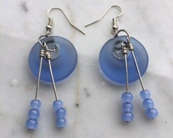 Sea glass earrings ocean blue with beaded dangle