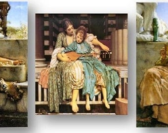 Classic Artist Tadema, Poetry, Prose, Music, Muses, Amazing Vivid Details, Set of 3 Prints