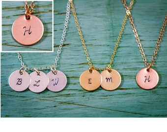 Rose Gold Initial Necklace Hand Stamped Initial Charm • Gold Dainty Charm Necklace Gold Initial Necklace • Bridesmaid Gift Little