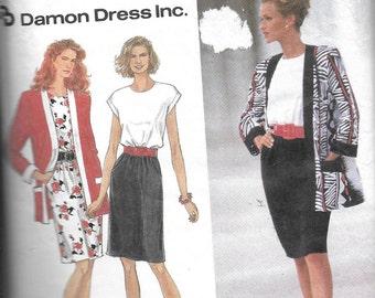 Vintage Pattern Women's Pull Over Dress,Jacket,CUT to Size 16-Simplicty 8346- DAmon Dress series - Dated 1993-Sz NN 10 12 14 16*