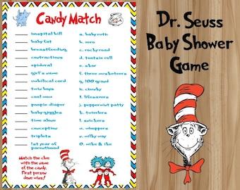 Dr. Seuss Candy Match, Dr. Seuss Baby Shower Game, Seuss Baby Shower Game, Dr. Seuss Baby, Dr. Seuss Baby Shower, Dr. Seuss Candy Game
