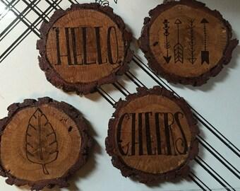 "Wood Slice ""Hello/Cheers"", Arrows, and Leaf Coaster Set"