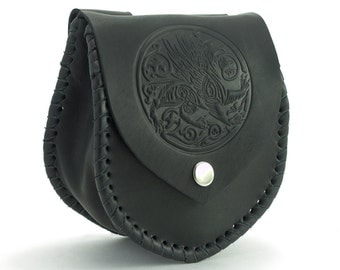 Personalized Medieval Leather Bag; Bag with embossing Gryphon or Your Initials; Genuine leather; Waist bag; Hip bag;