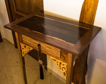 narrow console table with hand carved celtic knots narrow side table with live edge top