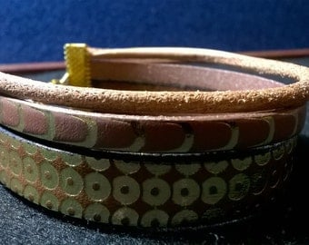 Genuine embossed leather bracelet
