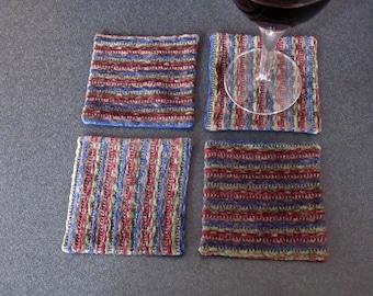 Handmade Coasters - set of 4 - blue, burgundy, green striped chenille