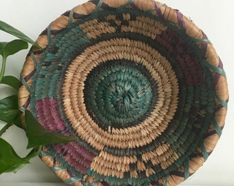 "Vintage Handmade Woven Native American Colorful Coil Basket 8"" Boho"