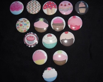 Cupcakes Buttons  Set of 15