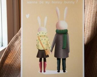 Wanna be my honey bunny postcard