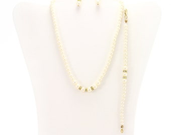 Gold Ivory Pearl Crystal 3-pc. Set