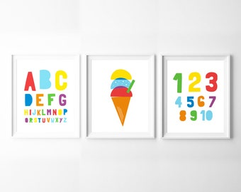Nursery Decor Set of 3 Printables – Alphabet, Numbers & Ice Cream, Colourful Nursery Wall Art, 3 Print Set, Instant Download *DIY PRINT*