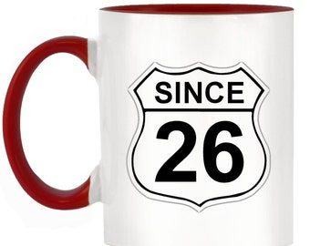 US Route 66 Roadsign 26 2-Tone Mug with matching handle and inner - 10 colours available