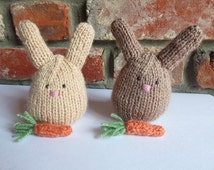 Soft Brown Hand Knitted Rabbit with Carrot