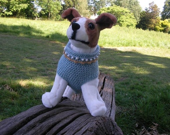 Dog Jumper with beads and holes for front legs.Size M.Turquoise/Mustard