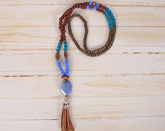Necklace inspiraion Mala blue/Brown