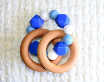 Baby Teething Ring Maple Wood Teething Ring with Silicone Geometric Beads - Baby Teething Toy, Baby TeetherBaby Shower, Gift for Baby