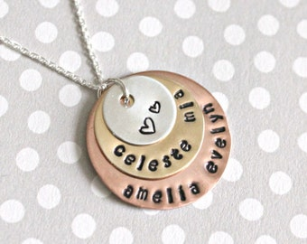 Stamped Name Necklace Mother Necklace Childrens Names Necklace Mixed Metal necklace Hand Stamped Jewelry