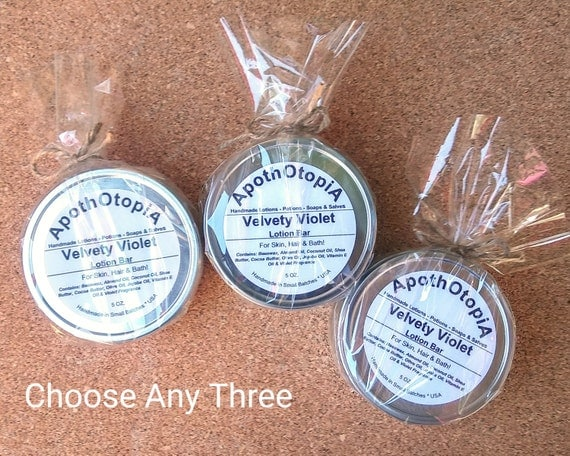 Set of 3 - Three Organic Oil Lotion Bars - Gift Set, Favors, Samples, You Choose, Solid Lotion Balm, Moisturizer, Body Cream, Eco Friendly