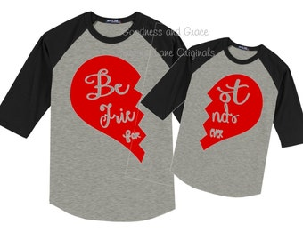 """Matching Mother Daughter """"Best Friends Forever"""" Raglan Tees - Glitter is Optional - Various Color Choices - Heart - Mother's Day - Mom Set"""