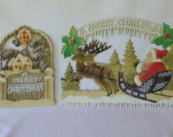 Vintage German Chromolithograph Embossed Die-Cut Christmas Ephemera, 2 pcs.