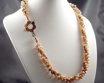 Beaded Kumihimo Necklace, Handmade Jewellery, Kumihimo Beaded Jewelry, Crystal Jewelry, Pearl Necklaces, Seed Bead Jewelry, Copper Jewelry