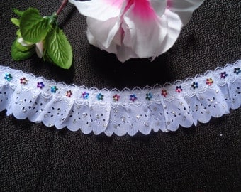 1 3/4 inch wide white  Lace Gathered Pleated Sequined Trim price for 1 yard