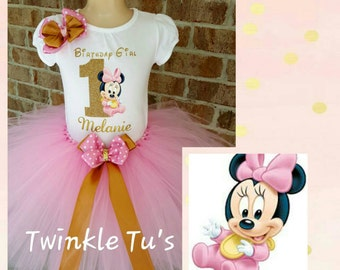 Pink and Gold Baby Minnie Mouse Tutu Outfit