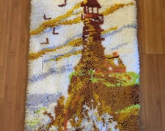 Lighthouse Latch Hook Rug, Handmade Rug, Child Room Decor, Gift for Him