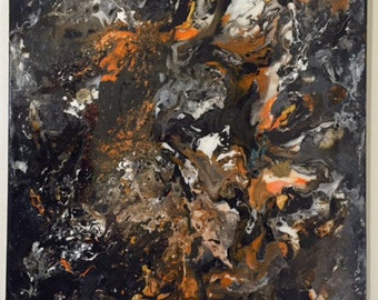 """Original abstract acrylic painting 50cm x 60cm """"Dying Campfire"""""""