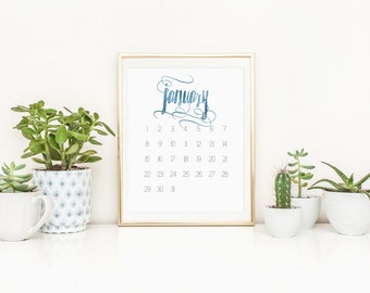 SALE -over 50% off! 2017 Calendar, blue foil swashes and swirl accent. A4 Digital Download Printable monthly calendar