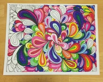 Coloring Page Printable Digital Download Swoosh Zentangle