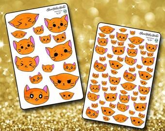 Emoji KItty Stickers - Planner Stickers Erin Condren Life Planner Cute Stickers Kittycon Stickers ECLP Stickers Happy Planner Cat Stickers