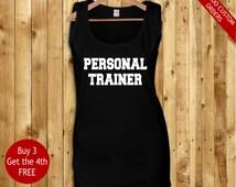 custom personal trainer gym workout instructor muscle tank top for ladies