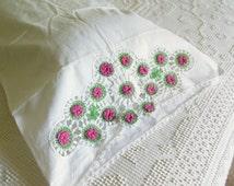 Pair of Vintage Irish Rose Crochet Pillowcases, Hand Crochet, Mauve Green & White Edgings, Handmade Cases, Cottage, Victorian
