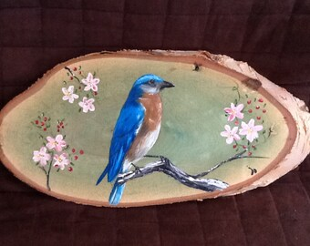 bluebird american, forest, bird, nature, paint, wood, decoration, cabin
