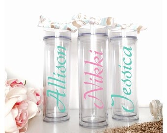 Monogram Skinny Water Bottle, Personalized Gift Tumbler, BPA Free Acrylic Tumbler Cup, Travel Water Bottle with Straw