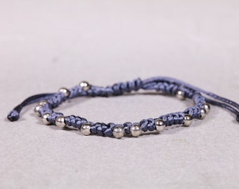 Grey and Silver  Bead Bracelet/anklet,Woven bracelet, Beads anklet, B-39