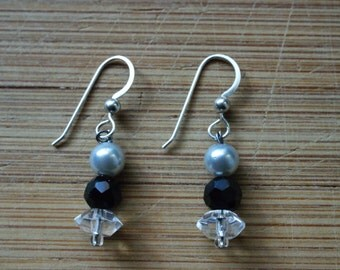 Pearl and glass earrings