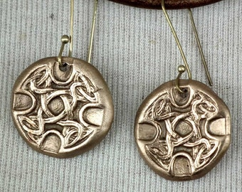 Bronze earrings, I decorated   with  celticknots j62b-004
